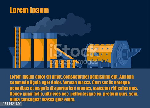 istock Ball mill and cement processing plant, color image in flat style. Industrial concept 1311421691