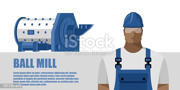 istock Ball mill and worker in overalls and safety helmet, color image in flat style. Industrial concept 1311421670
