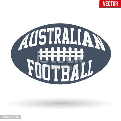 istock Ball of Australian rules football with typography 1002737956
