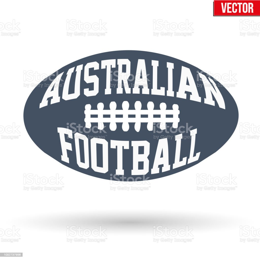 Ball of Australian rules football with typography vector art illustration