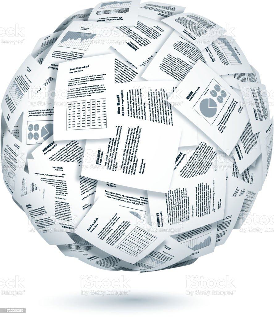 Ball of documents royalty-free stock vector art