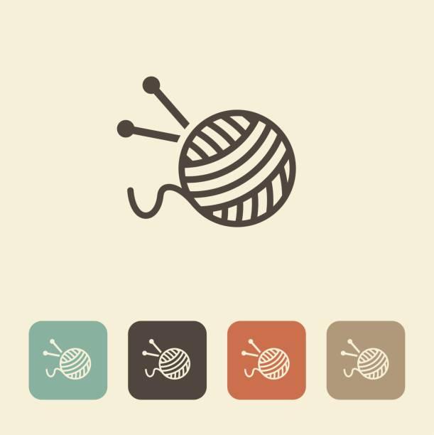 stockillustraties, clipart, cartoons en iconen met een bal van wol en breinaalden - wollig