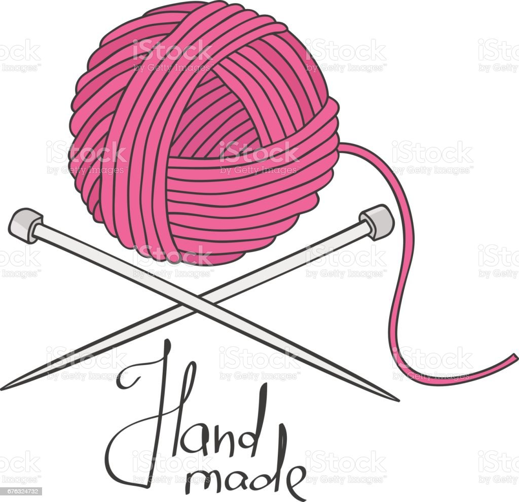 Ball of yarn and needles vector art illustration