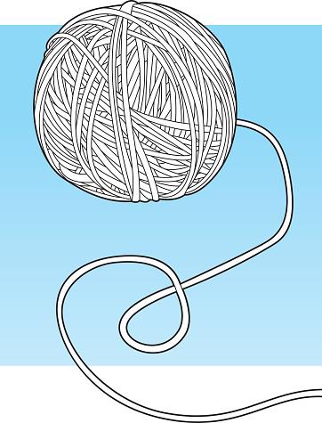 Ball of Yarn Line Art