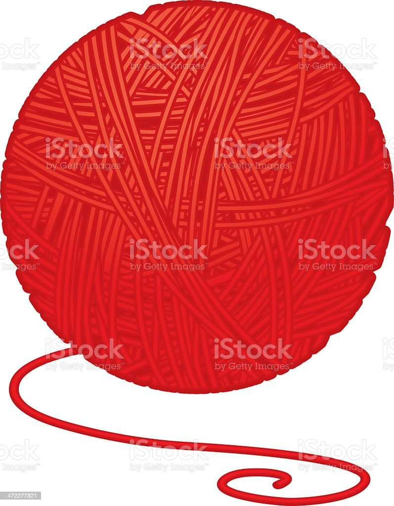 ball of yarn vector art illustration