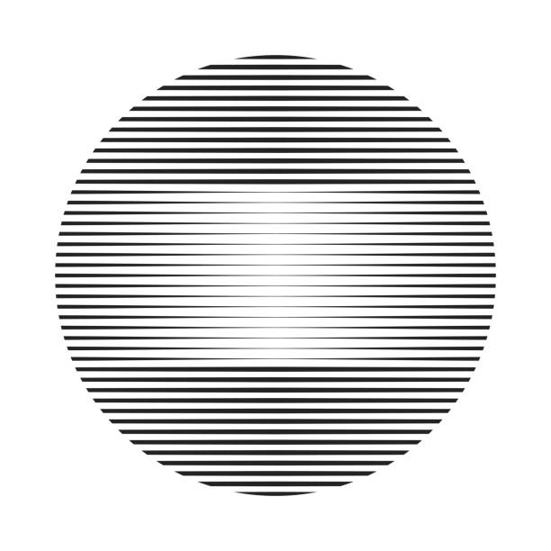 ball or sphere shape with variable thickness lines ball or sphere shape with variable thickness lines. striped texture with copy-space for you logo design. high key stock illustrations