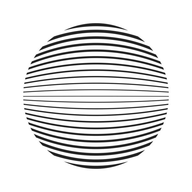 ball or sphere shape with variable thickness lines - rytm stock illustrations