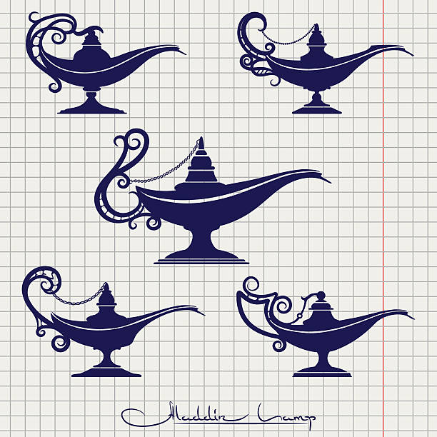 Ball pen drawing aladdin lamp vector art illustration