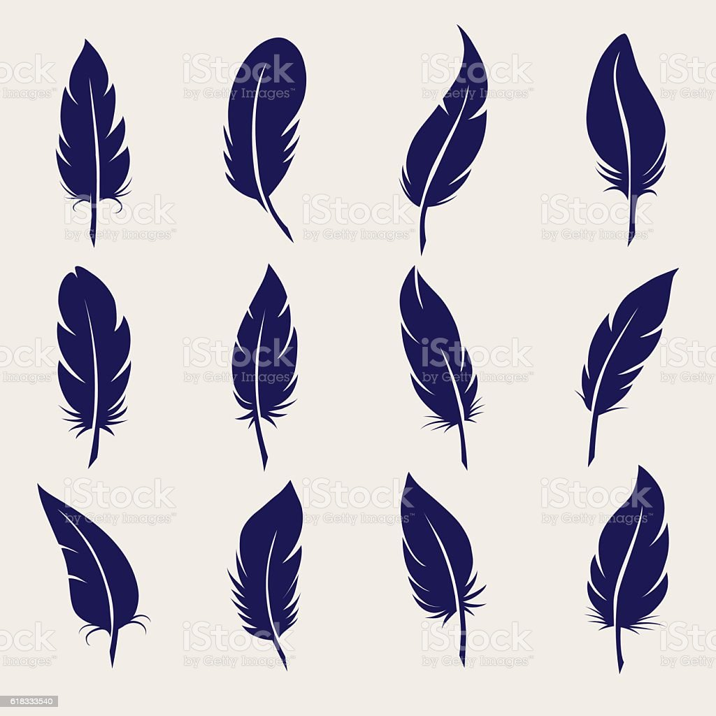 Ball pen feather sketch set vector art illustration