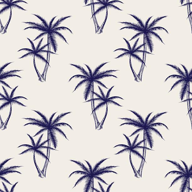 ilustrações, clipart, desenhos animados e ícones de ball pen imitation palms seamless pattern - coqueiro