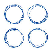 Set of hand drawn grunge style dark blue vintage ball pen scribbles on white paper background. Text symbol or icons selection abstract frame concept.