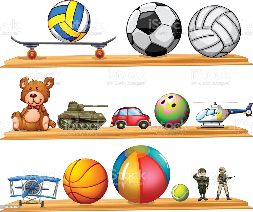 Ball set and other toys vector art illustration