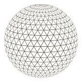 Ball sphere with a grid of a triangle on the surface, vector layout globe planet earth with a grid, the concept of the virtual world