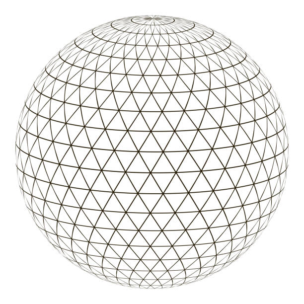 Ball sphere grid triangle on surface, vector layout globe planet earth with a grid, the concept of the virtual world Ball sphere with a grid of a triangle on the surface, vector layout globe planet earth with a grid, the concept of the virtual world website wireframe stock illustrations