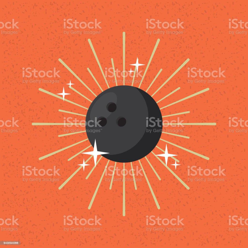ball sport bowling sunburst color background vector art illustration