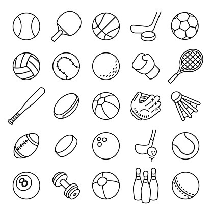 Ball sports line icons. Outline equipment for football, tennis, badminton and soccer, baseball and boxing. Thin linear game logo vector set