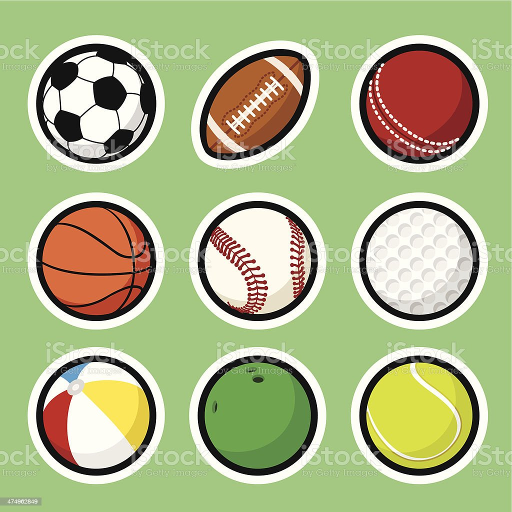 Ball stickers vector art illustration