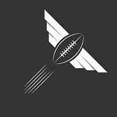 Ball with wings of American football or rugby, sport logo
