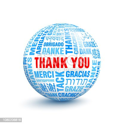 istock 3D ball with words Thanks in different languages 1080206816
