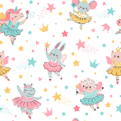 Ballerina animal seamless pattern. Hand drawn baby bunny, unicorn, mouse in ballet tutu. Girls birthday, baby shower, t-shirt vector print