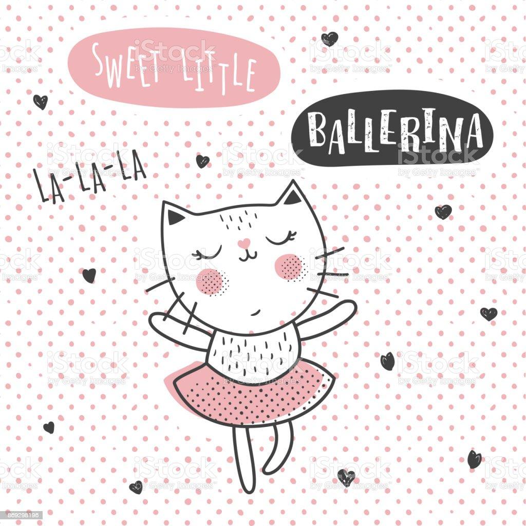 ballerina cat vector art illustration