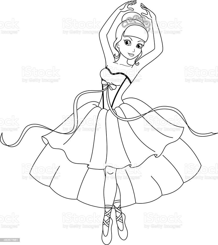 Vetores De Bailarina Páginas De Colorir E Mais Imagens De