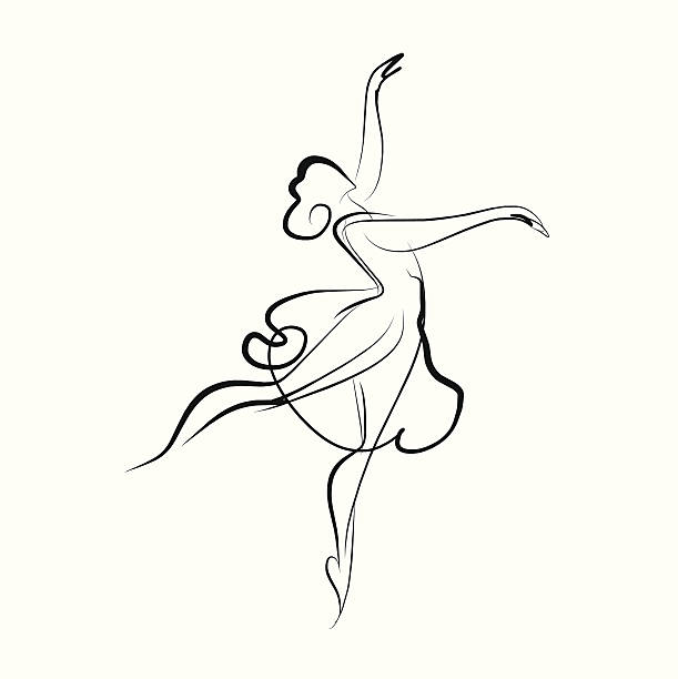 ballerina dancer vector art illustration