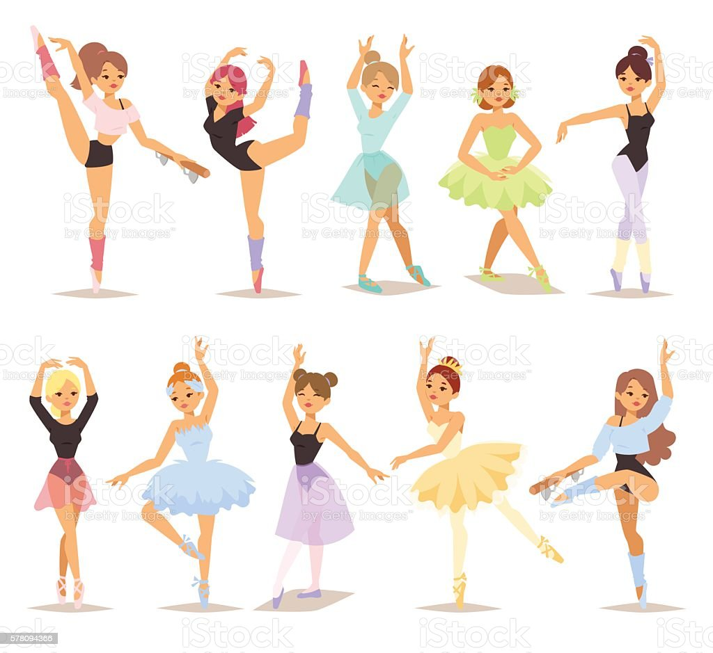 ballerina dancers vector set. vector art illustration