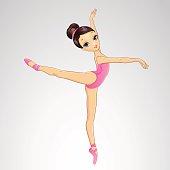 Vector illustration of beautiful ballerina dancing on pointe