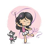 Cute girl dancing ballet with a ribbon and her cat.
