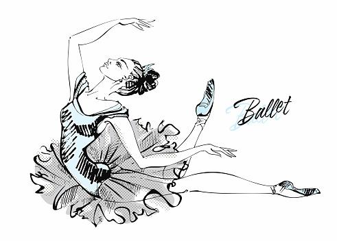 Ballerina in a tutu. Graphics. Vector illustration