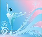 Beautifully gently colored blue and pink background with ballerina in blue performing.
