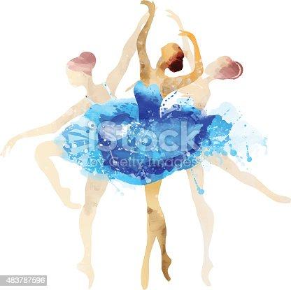 istock Ballerina in blue vector watercolor 483787596