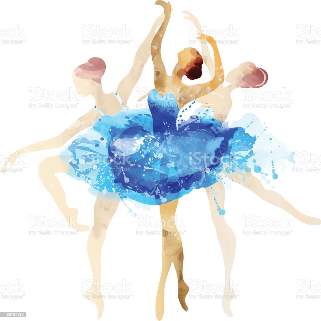 Ballerina in blue vector watercolor vector art illustration