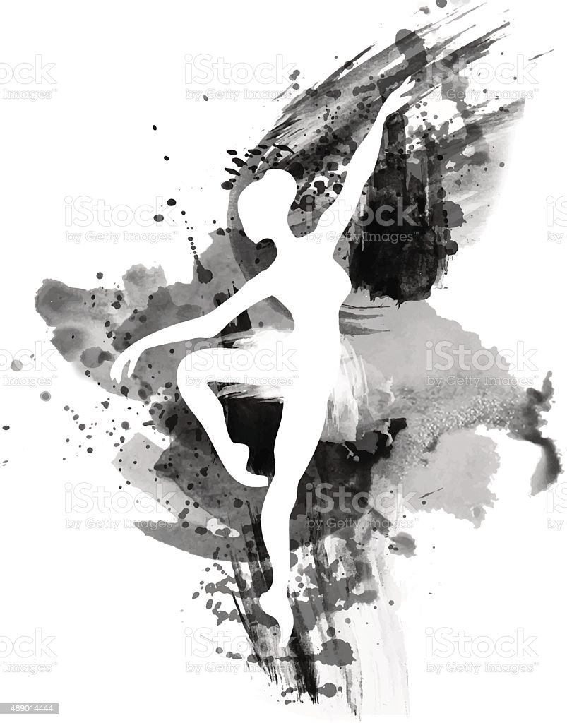 Ballerina in dance. watercolor vector art illustration