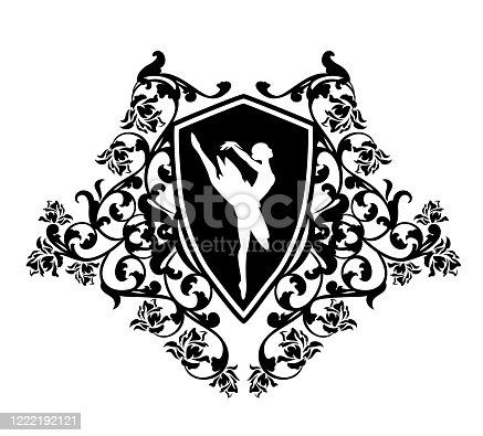 istock ballerina in heraldic shield with rose flowers decor black and white vector design 1222192121