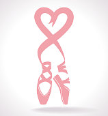 Vector Illustration Clip Art of the feet of a bellerina in Pointe. The ribbons of the shoes form a bow and the shape of a heart