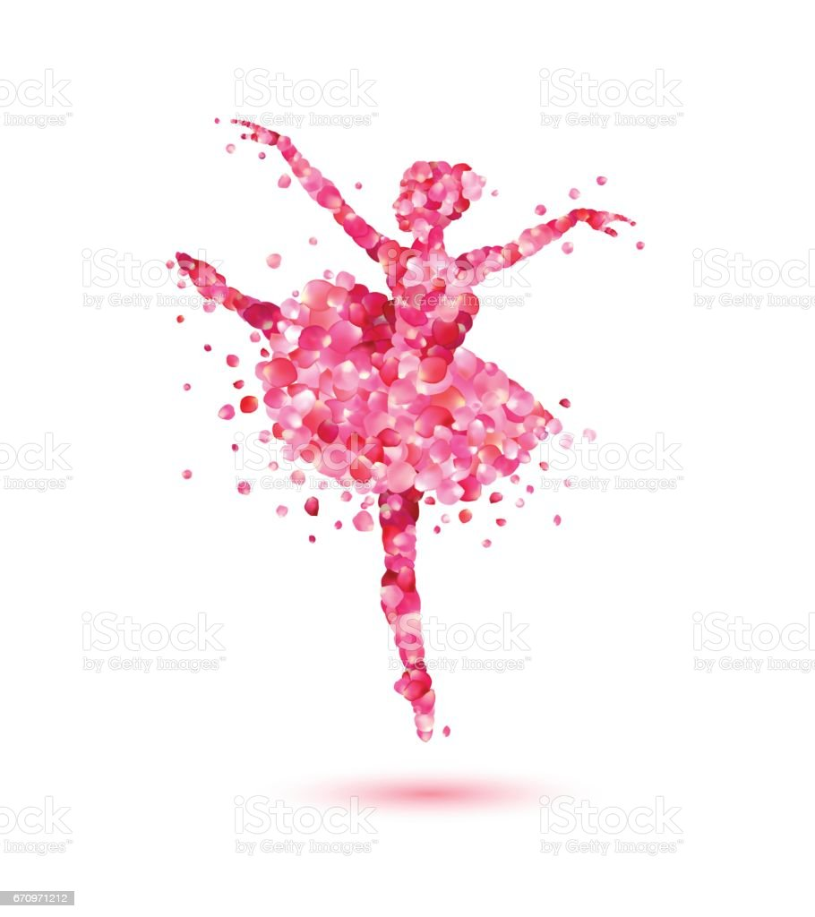 Ballerina of pink rose petals vector art illustration