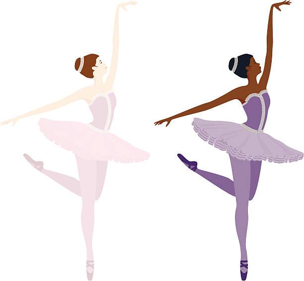 Ballerina on toes vector art illustration