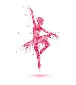 ballerina silhouette of pink rose petals