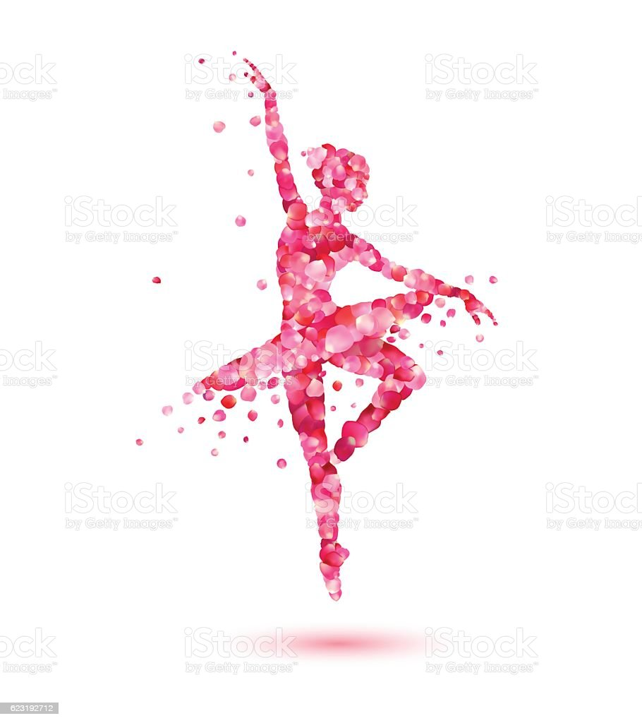 ballerina silhouette of pink rose petals vector art illustration