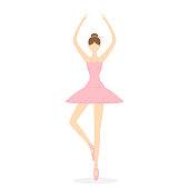 Cute little ballerina isolated on white background, illustration.