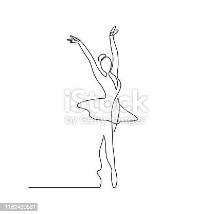 Ballet dancer in continuous line art drawing style. Ballerina black line sketch on white background. Vector illustration