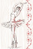 Pencil drawing of ballerina on wooden board with red decoration. The silhouette of the dancer can be easily divided from the background.