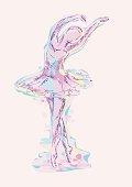 Hand-drawn dancing ballerina. Water colors stylized illusrtation.