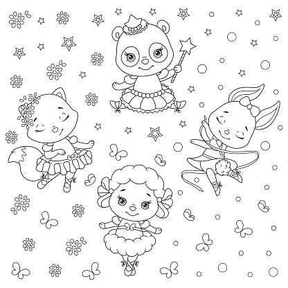 Ballerinas Animals Pattern Coloring Page