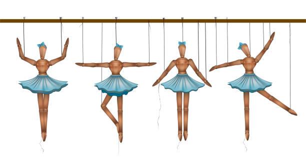 ballerinas-konzept, satz hölzerne marionette tänzer in verschiedenen posen, - puppenkurse stock-grafiken, -clipart, -cartoons und -symbole