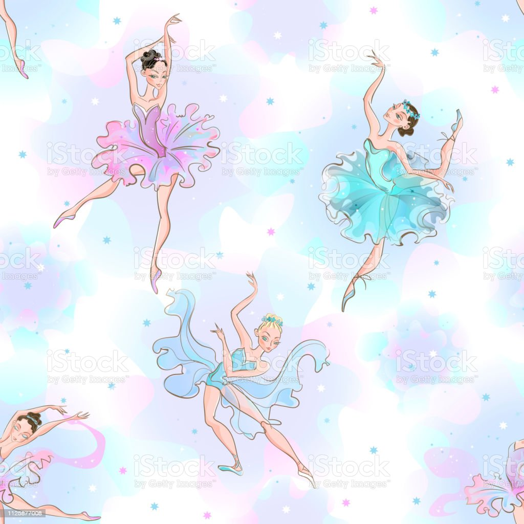 Ballerinas. Seamless pattern. Little princess Dance Vector...