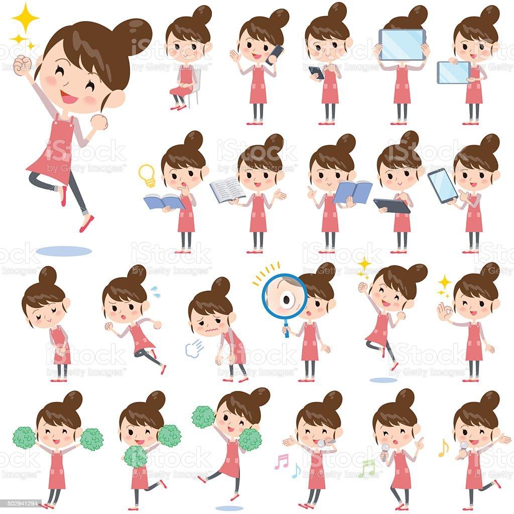 Ballet Bun hair Apron mom 2 vector art illustration