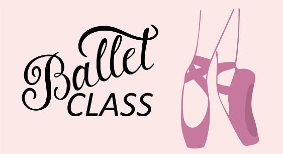 Ballet class logo calligraphy design. Vector lettering.